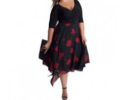 Rochie neagra XXL midi cu flori rosii Gabriela