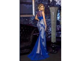 Rochie lunga albastra din tull si paiete Ana