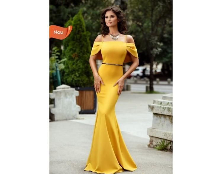 calitate superioară multe stiluri Cel mai bun Rochie lunga galben mustar de tip sirena Valeria