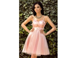 Rochie roz baby doll din tull si satin Alexandra