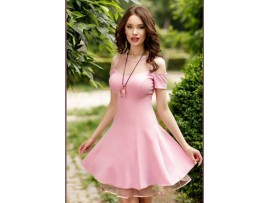 Rochie baby doll scurta roz Candy