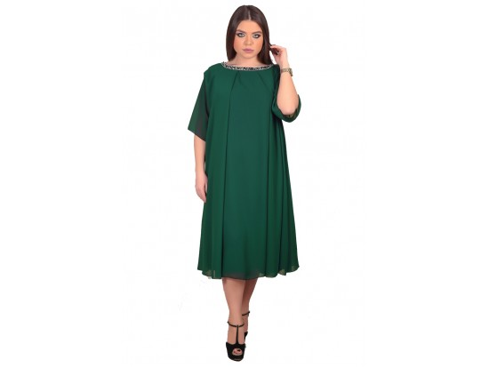 Rochie de seara XXL midi verde Arina