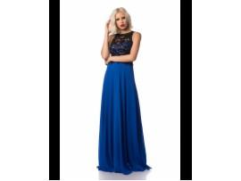 Rochie de seara albastra lunga vaporoasa din voal Lili