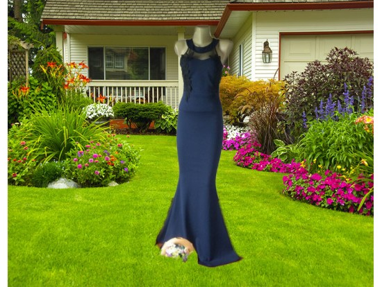 Rochie de seara lunga bleumarin tip sirena cu aplicatii florale Eva