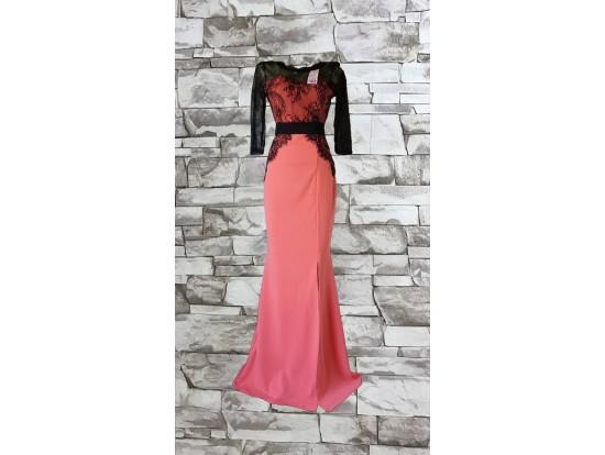 Rochie de seara lunga corai cu dantela neagra aplicata Sellina