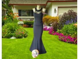 Rochie de seara lunga neagra tip sirena cu plasa si flori aplicate Eva