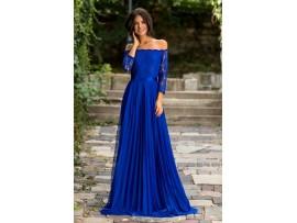 Rochie de seara lunga vaporoasa albastra cu dantela pe bust Anastasia