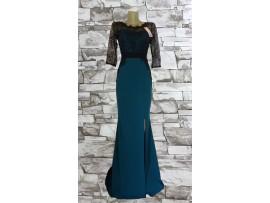 Rochie de seara lunga verde cu dantela neagra aplicata Sellina