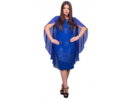 Rochie de seara midi albastra cu broderie aplicata Mary