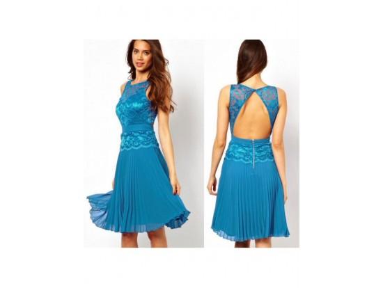 Rochie de seara midi albastra cu dantela si fusta plisata Skater