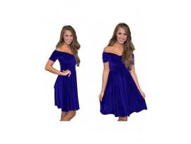 Rochie de seara midi din catifea albastra Denisa