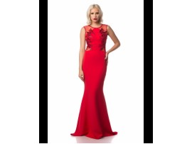 Rochie de seara rosie lunga tip sirena cu broderie Ramona