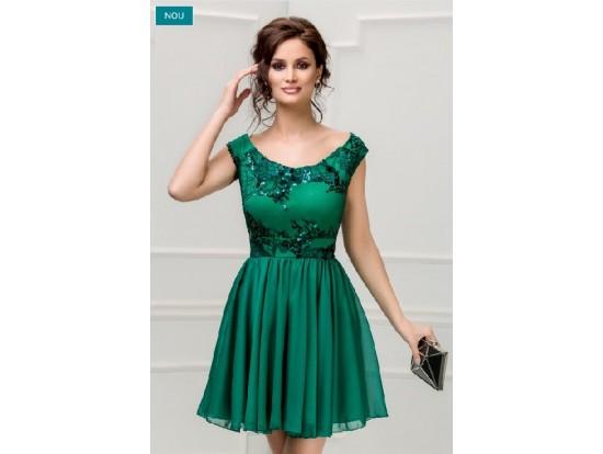 Rochie de seara scurta verde cu paiete Freya