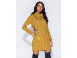 Rochie de zi galben mustar tricotata Elena