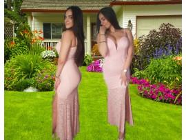 Rochie lunga roz pudrat din dantela cu crapatura pe picior Larry