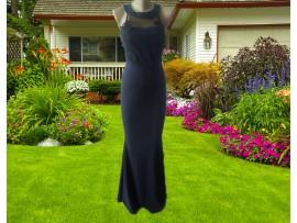 Rochie neagra lunga cu plasa si broderie aplicata Eva