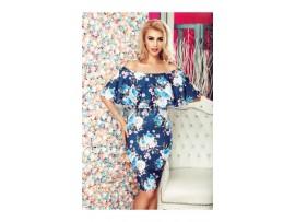 Rochie albastra din bumbac  cu imprimeu floral model VANESSA