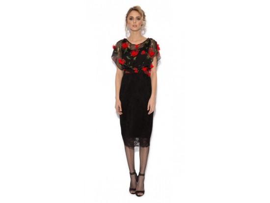 Rochie conica neagra cu aplicatii florale rosii 3D Carmen
