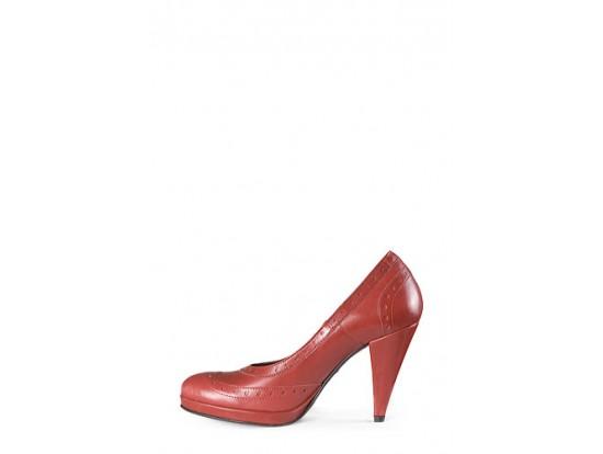 Pantof rosu design retro din piele naturala model 101