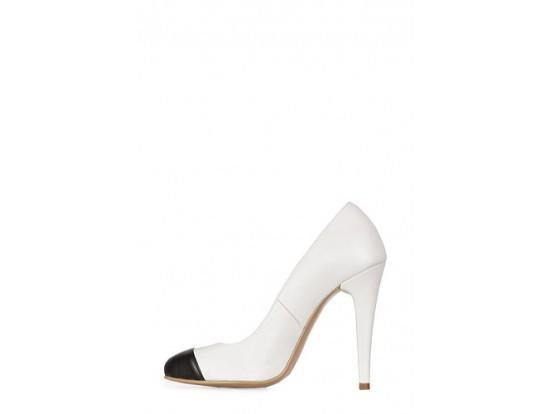 Pantofi alb cu negru din piele naturala model 4001
