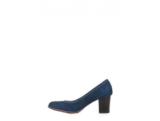 Pantofi albastri din piele intoarsa model P71