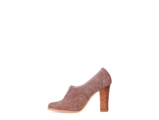 Pantofi Clarette bej din piele intoarsa model 279