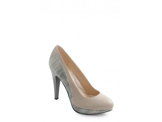 Pantofi Clarette bej din piele naturala model 452