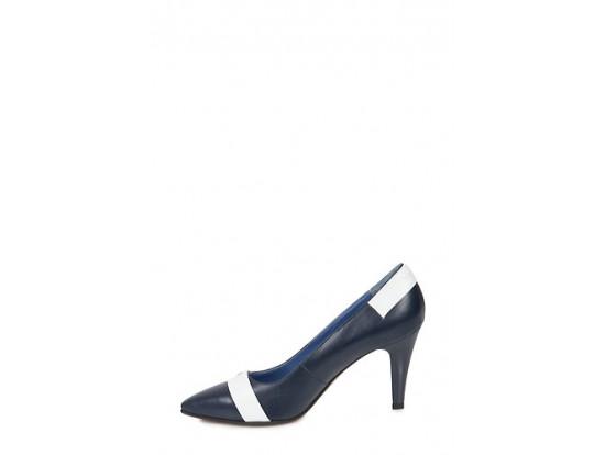 Pantofi Clarette bleumarin cu alb din piele naturala model 901