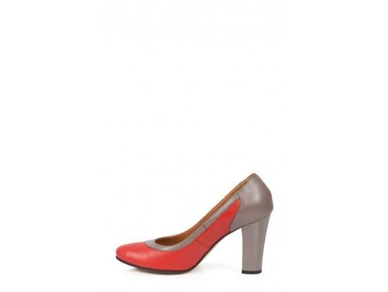 Pantofi Clarette corai cu grej din piele naturala model 340VF