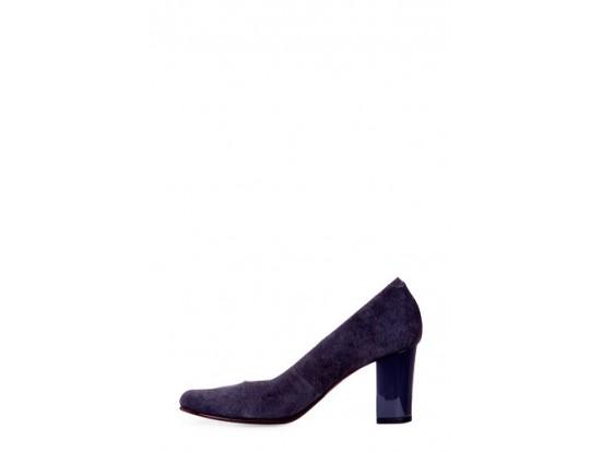Pantofi Clarette gri din piele intoarsa model 23