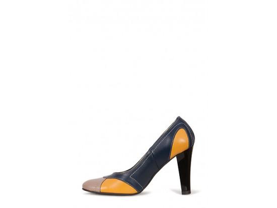 Pantofi bleumarin cu galben din piele naturala model PP-6547