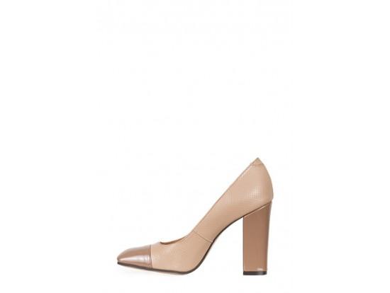 Pantofi Clarette maro cu bej din piele naturala model 61