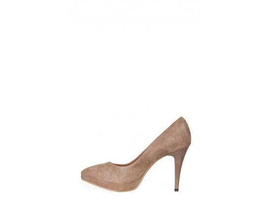 Pantofi Clarette maro din piele intoarsa model 01P