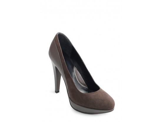 Pantofi Clarette maro din piele intoarsa model 452