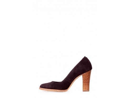 Pantofi Clarette maro din piele intoarsa model 278