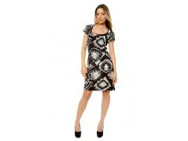 Rochie negru cu alb cu imprimeu cercuri model CV66