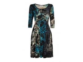 Rochie negru cu albastru si bej cu imprimeu floral model CV45