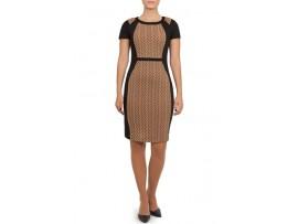 Rochie negru cu maro din jerse model ISSEY
