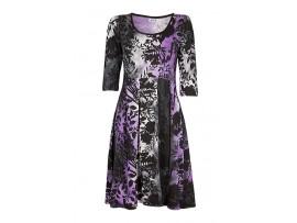 Rochie negru cu mov si gri cu imprimeu floral model CV44