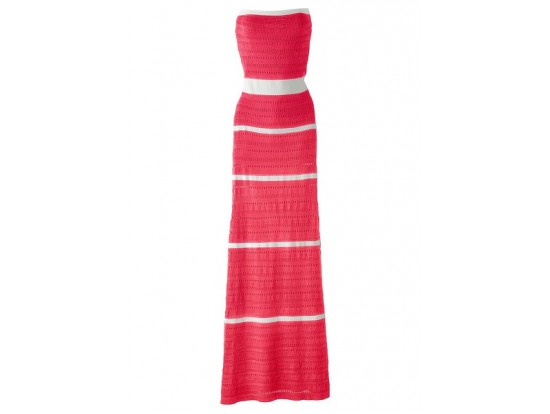 Rochie tricotata maxi alb rosu