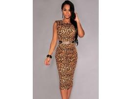 Rochie Leopard print elastica spate decupat